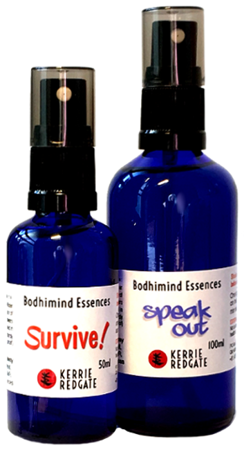 Flower Essence bottles 'Survive!' and 'Speak Out' formulas