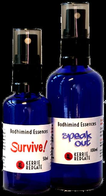 Flower Essence bottles 'Survive!' and 'Speak Out' formulas